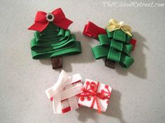 DIY Tutorial Flower Crafts / DIY Christmas Tree Ribbon Sculpture - Bead&Cord