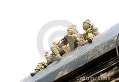 Photo about This is an image of a statue of the Hindu lord Krishna with his Gopis sitting on a roof with his flute. Image of hindu, image, roof - 71916975 Lord Krishna, Temples, Flute, Objects, Carving, Stock Photos, Statue, Landscape, Image
