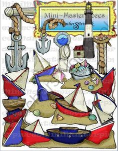 Clip Art: Anchor Nautical Sand and Ships-A-Sailing by HeatherSArtwork from Mini Masterpieces by HeatherSArtwork on TeachersNotebook.com -  (18 pages)  - Nine cute clips that support a nautical theme in any classroom! You can accent your newsletters, bulletin boards, or smart-board lessons with sand and ships and anchors. Black line and digicolor.