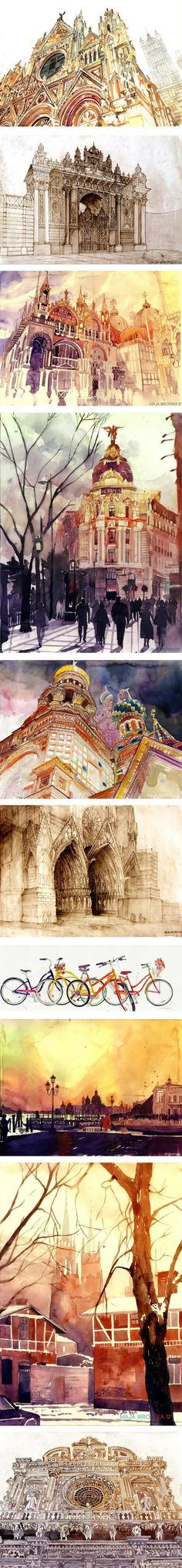 Architectural illustration, By Maja Wronska Watercolor, Negin's favorite style, detailed architectural sketches, Beautiful watercolor paintings of historical buildings Illustration Manga, Illustrations, Crazy Walls, Architecture Drawings, Watercolor Architecture, Classical Architecture, Belle Photo, Watercolor Art, Watercolour Paintings