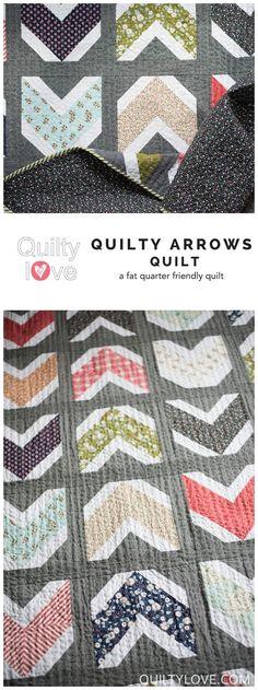 Quilty Arrows Quilt pattern by Emily of Quiltylove.com. Modern fat quarter friendly arrow quilt using Essex Linen. Fabrics by Lela Boutique.