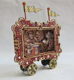 Old Timey Circus Parade Wagon with Lions: Altered by RackyRoad