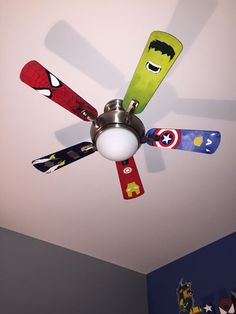For an innovative style touch, search our collection of contemporary ceiling fans with cutting-edge features. Created with either the conventional 4 fan blades or the smooth look of three blades, these fans could refresh the look of any kind of room. Boys Room Decor, Kids Decor, Kids Bedroom, Bedroom Decor, Bedroom Wall, Kids Rooms, Bedroom Ceiling, Boy Rooms, Boys Room Paint Ideas