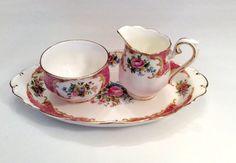 Royal Albert Lady Carlyle Sugar Creamer with Tray Tea Set - Open sugar Dish