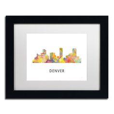 "Trademark Art ""Denver Colorado Skyline WB-1"" by Marlene Watson Framed Graphic Art Size: 1"