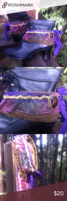 Cali Boho blinged boot cuffs Cali boho boot cuffs of mocha brown cotton, fringed edge fabric, embellished with purple and green rayon wide ribbon accented with gold beaded braid and a vintage piece of jewelry , toed with a raw edged cotton tie at the heel( of front, you pick) a kreativekristen posh on girlfriend;) kreativekristen  Accessories Hosiery & Socks