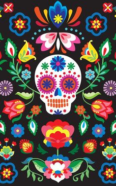 This vibrant wallpaper features a Dia de los Muertos skull design, with a central bright calavera, which appear everywhere during the holiday as sweets, ma Cute Wallpapers, Wallpaper Backgrounds, Iphone Wallpaper, Office Wallpaper, Sugar Skull Wallpaper, Day Of The Dead Artwork, Day Of The Dead Skull, Sugar Skull Art, Sugar Skulls