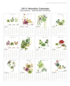 2013 Wall Calendar Succulents 8x11 Calendar by TropicalGarden, $30.00