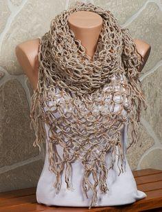 On Sale. BEIGE Crochet Scarf. Autumn , Fall Scarf. Fashion Scarf or shawl. Hand made.