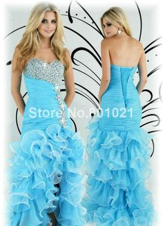 Free Shipping Delicate Beaded Sweetheart Long Layered Ice Blue Organza High Low Prom Dresses 2014 Sexy Mermaid Prom Gown $120.00