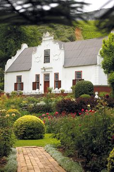 The homestead-Old Nectar, Jonkershoek Valley, South Africa. Cape Dutch architecture at its best.