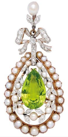 A Belle Époque Peridot, Diamond and Pearl Pendant, circa 1910 The pendant drop centering a pear-shaped peridot weighing approximately 6.00 carats, amid a foliate garland accented by pearl berries and diamonds within a conforming frame of split-pearls, and suspending from a diamond-set ribbon bow topped by a pearl measuring 5.1 mm by 4.2 mm, mounted in platinum and 14k gold, pearls not tested for natural origin