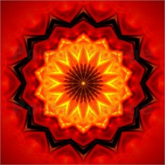 Red/orange/yellow combined in a mandala to reflect action and positive movement forward - Marcus Tuerner - Mandala Fire