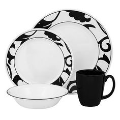 Corelle Vive Noir 16-pc. Dinnerware Set