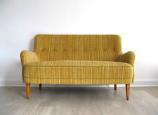 1950s DANISH SMALL MUSTARD YELLOW 2 SEATER SOFA SETTEE retro heals 50s 60s 1960s
