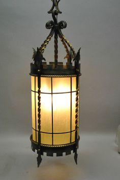 Sold hh 5343 wrought iron exterior lantern antique for Spanish revival lighting fixtures