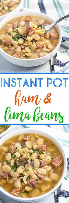 Instant Pot Lima Beans and Ham is so easy to prepare in your pressure cooker - Tastes like it slow cooked all day in a fraction of the time! Soup Beans, Instant Pot Beans Recipe, Dry Beans Recipe, Instant Pot Veggies, Instant Pot Meals, Instant Recipes, Lima Bean Recipes, Bean Soup Recipes, Quick Recipes