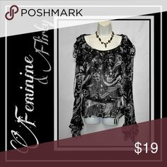 Flirty & Feminine Blouse Has ruffled bell sleeve & ruffled neckline Semi sheer Tag is 1X,  but depending on the fit you like, smaller sizes could wear it w a belt Belt & Necklace listed seperately Kaeylin Max Tops Blouses