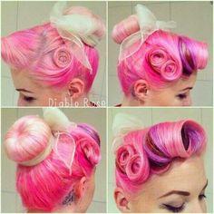 Pink pinup retro pin-curl hair