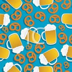 Seamless pattern with beer mugs and bavarian pretzels