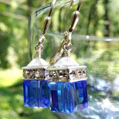 Blue Crystal Earrings Sterling Silver Sapphire par fineheart, $28,00