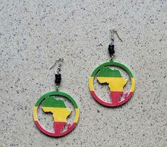African Earrings, Map Of Africa Earrings