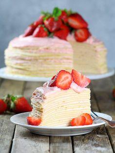 Strawberry Lemon Creme Crepe Cake via 13 Desserts, Spring Desserts, Baking Recipes, Cake Recipes, Dessert Recipes, Crape Cake, Crêpe Recipe, Churros, Let Them Eat Cake