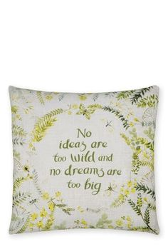 Buy Dream Big Cushion from the Next UK online shop Large Cushions, Green Cushions, Large Sofa, Scatter Cushions, Cushions On Sofa, Bed Pillows, Butterfly Watercolor, Front Rooms, Next Uk