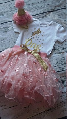 Fairy Birthday Outfit / Pink and Gold First Birthday Outfit /