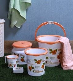 Plastic 5 Pcs Bucket Set In Orange By Cello Small Buckets Plastic Buckets Laundry Equipment