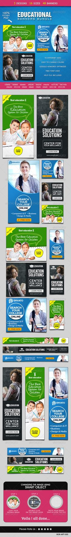 Education Banners Bundle - 3 Sets Created: GraphicsFilesIncluded: PhotoshopPSD HighResolution: Yes Layered: Yes MinimumAdobeCSVersion: Tags: adwordsbanners Education Banner, Education College, Kids Education, 404 Pages, Banner Template, Ad Design, Banner Design, Booklet, Web Banners