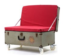 From the uber-creative JunkTion comes a great piece of repurposed furniture – a sofa made from an old vintage trunk. It's like the human version of the repurposed luggage pet bed that has been quite popular in the bl Diy Garden Furniture, Handmade Furniture, Repurposed Furniture, Unique Furniture, Home Furniture, Furniture Design, Furniture Ideas, Rustic Furniture, Furniture Buyers