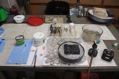 Basic soldering tools, work area.