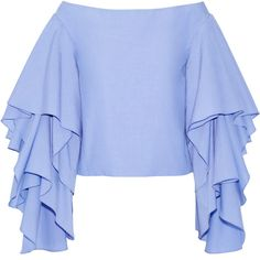 Rosie Assoulin Bidi Bidi Bom Bom off-the-shoulder ruffled... ($1,465) ❤ liked on Polyvore featuring tops, blouses, shirts, blue, blue ruffle blouse, ruffle shirt, blue ruffle shirt, off shoulder shirt and flutter sleeve shirt