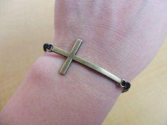 Adjustable cross wrist bracelet leather by braceletbanglecase, $2.98