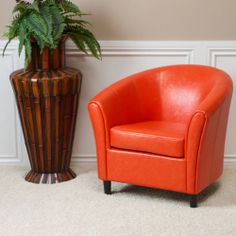 Set of 2 Contemporary Design Vivid Orange Leather Tub / Barrel Club Chairs