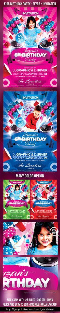 Kids Birthday Cake Flyer Invitation