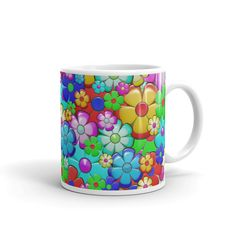 Ceramic Mug Flower Garden Color Pink Red Yellow Blue Green White Ocher Purple Blue Green, Yellow, Purple, Colorful Garden, Ceramics, Mugs, Drink, Tableware, Flowers