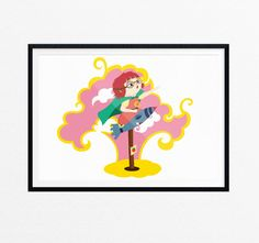 Rocket Girl Wall Art/Kids Art Print/For Girl by EasternCloudStudio