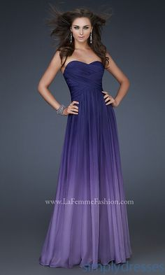 Long Strapless Ombre Gown LF-17004