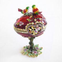 faberge eggs | RARE Vintage Hand Painted Love Bird Faberge Egg Rhinestone…
