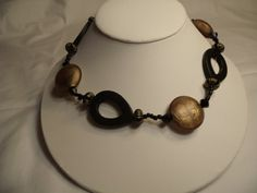 Necklace Black Wood Gold Tone Glass Large Chunky  by CindyDidIt, $23.00