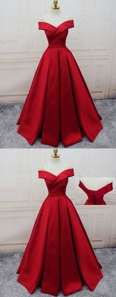 Red Off Shoulder Satin Prom Dress, Red Party Gowns, Red Party Dresses Rot Schulterfrei Satin Abendkleid, rote Party Kleider, rote Party Kleider Lace Evening Dresses, Elegant Dresses, Evening Gowns, Beautiful Dresses, Lace Dress, Dress Red, Gorgeous Dress, Gorgeous Lady, Evening Attire