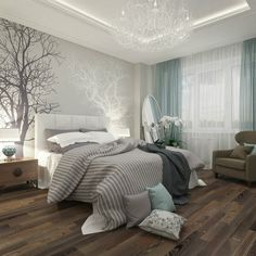 Love the contrast between the dark hardwood floor and the light walls and trim.