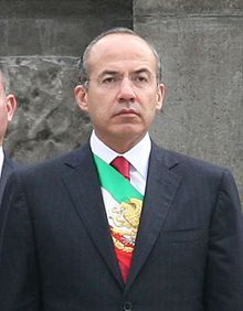 Felipe de Jesús Calderón Hinojosa (born August 18, 1962) is the current President of Mexico. He assumed office on December 1, 2006, and was elected for a single six-year term through 2012. He is a member of the Partido Acción Nacional (PAN), one of the three major Mexican political parties.   Prior to the presidency, Calderón received two masters degrees. Calderón served as National President of the party, Federal Deputy, and Secretary of Energy in Vicente Fox's cabinet.