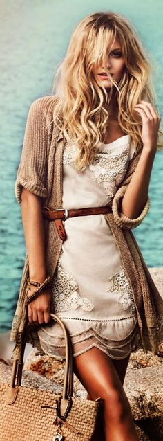 Adorable Boho Lace Cardigan with White Belted Dress for a modern hippie flair.  For MORE Bohemian Fashion FOLLOW https://www.pinterest.com/happygolicky/the-best-boho-chic-fashion-bohemian-jewelry-gypsy-/ now!