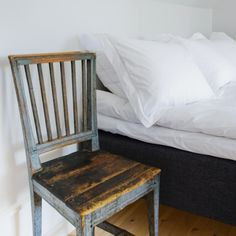 Perfect for a guest bedroom. Need to find a knackered chair.. A Homecoming: Hotel Stelor in Sweden : Remodelista