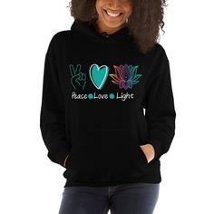 Peace Love Light Unisex Hoodie, Beautiful Lotus Flower Hoodie, Yoga sweatshirt, Yoga Instructor Gift, Yogi Hoodie Wolf Hoodie, Gifts For Horse Lovers, Mothers Day Presents, Yoga, Horse Girl, Tween Girls, Unisex, Love And Light, Hoodies