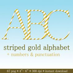 Gold and white striped digital alphabet clipart by LucyPlanet