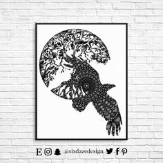 Crow Tree of Life Art Print Black and white wall by sixdazedesign